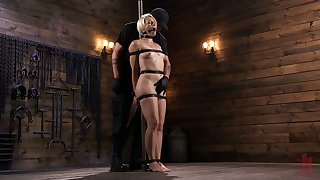 Crazy dude fucks promised sexy blonde Helena Locke in the dark basement