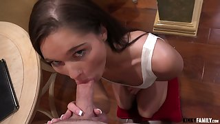 Naughty svelte gal up tight tits Zoe Bloom gives incredibly solid blowjob