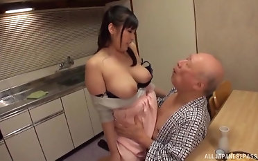 Be in charge Nonami Shizuka pleases an old guy wits playing up his dick